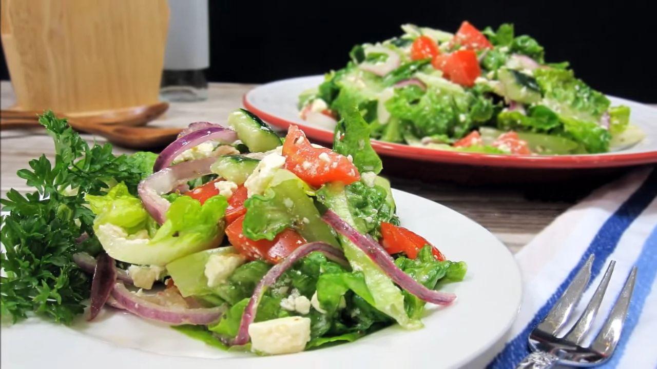 Греческий салат без маслин — пошаговый рецепт, основное фото